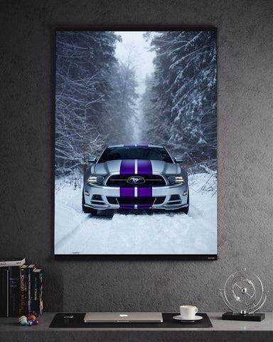Mustang Ford Purple Stripes Snow
