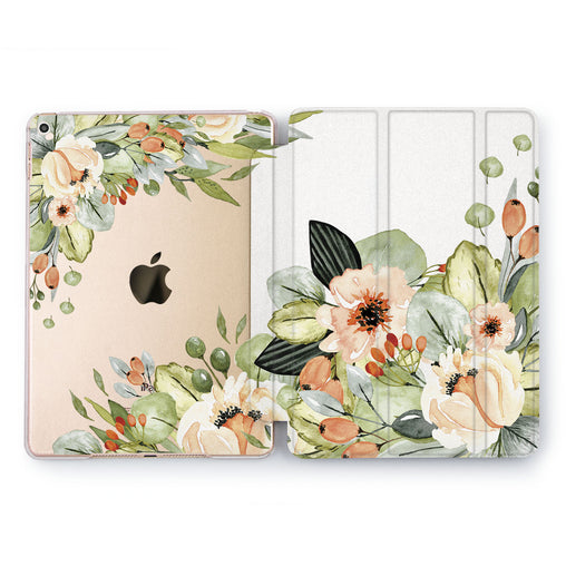 Lex Altern Beige Flowers Case for your Apple tablet.