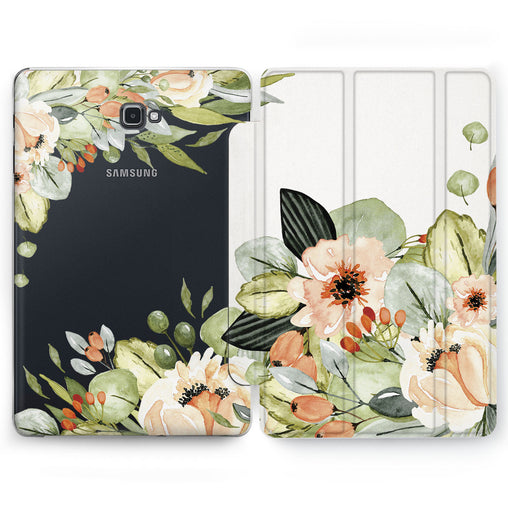 Lex Altern Beige Flowers Case for your Samsung Galaxy tablet.