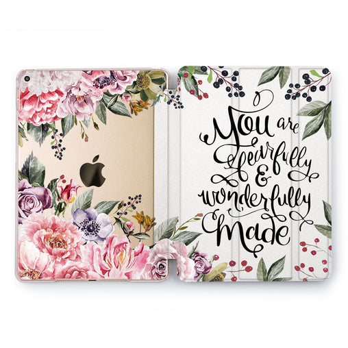 Lex Altern Peonies Book Case for your Apple tablet.