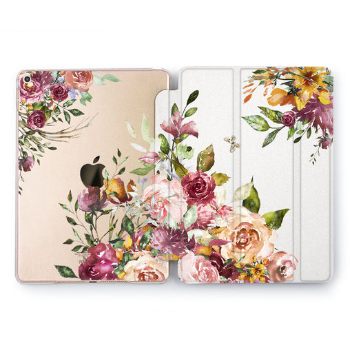Lex Altern Rose Gold Peonies Case for your Apple tablet.