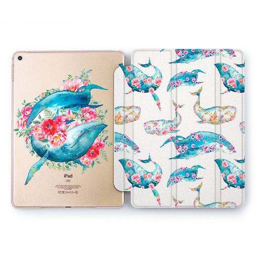 Lex Altern Floral Whales Case for your Apple tablet.