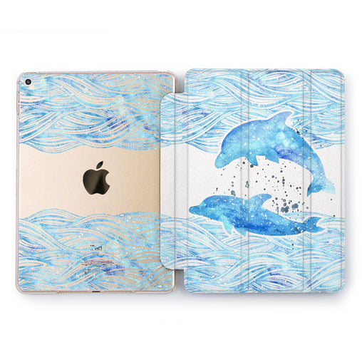 Lex Altern Dolphins Couple Case for your Apple tablet.