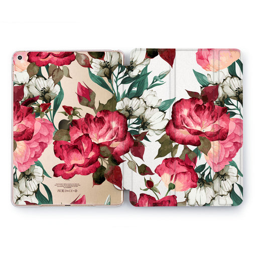 Lex Altern Red Peonies Case for your Apple tablet.