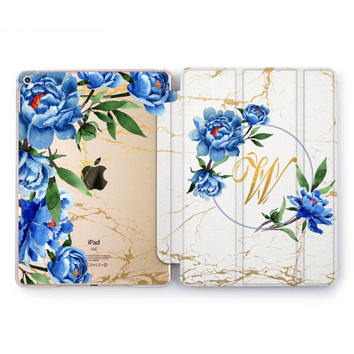 Lex Altern Blue Peonies Case for your Apple tablet.