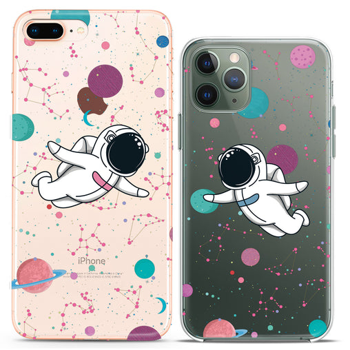 Lex Altern TPU Silicone Couple Case Astronauts Flying
