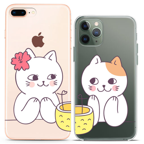 Lex Altern TPU Silicone Couple Case White Cats