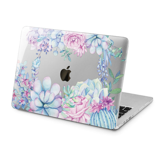 Lex Altern Lex Altern Blue Succulents Case for your Laptop Apple Macbook.