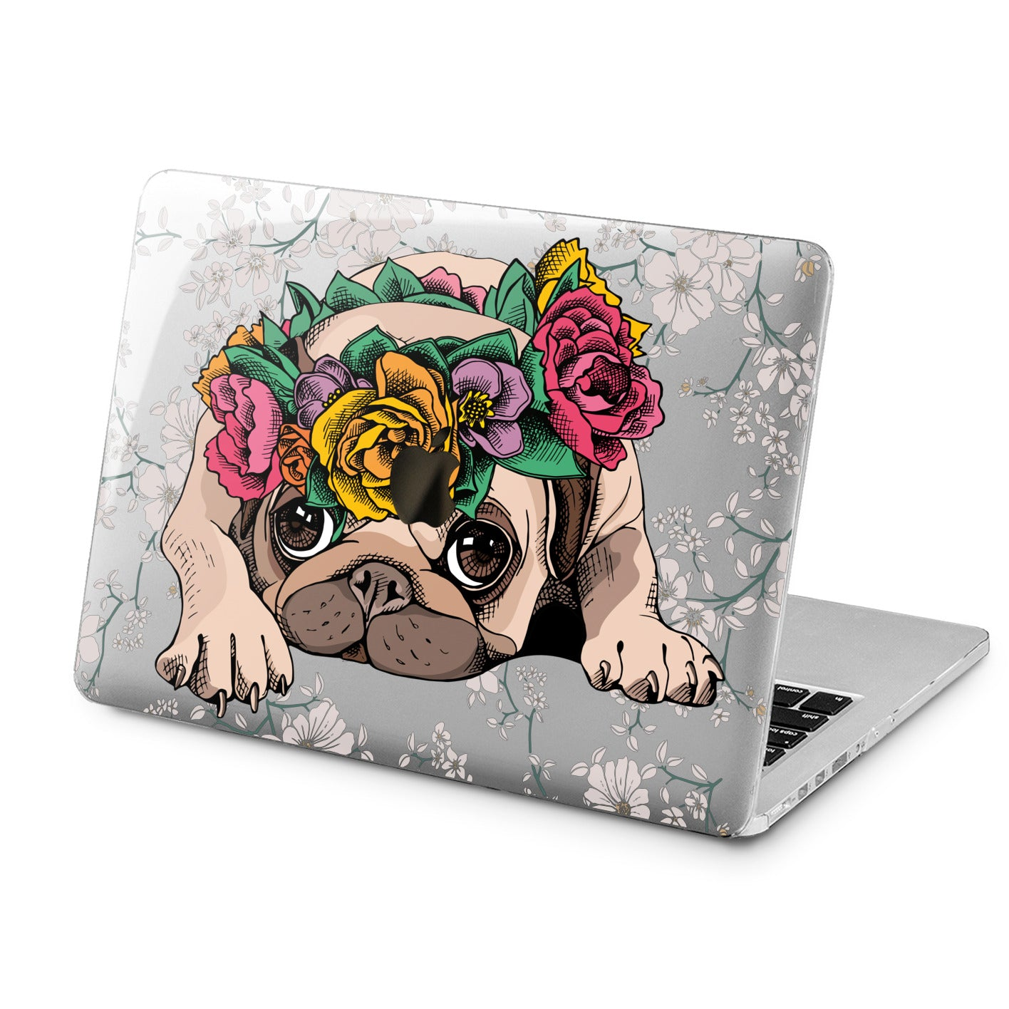 Lex Altern Lex Altern Floral Pug Case for your Laptop Apple Macbook.