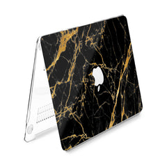 Lex Altern Hard Plastic MacBook Case Golden Black Marble