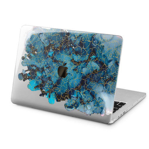 Lex Altern Lex Altern Abstract Blue Flowers Case for your Laptop Apple Macbook.