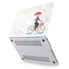Lex Altern Hard Plastic MacBook Case Floral Rain Bicycle Pattern