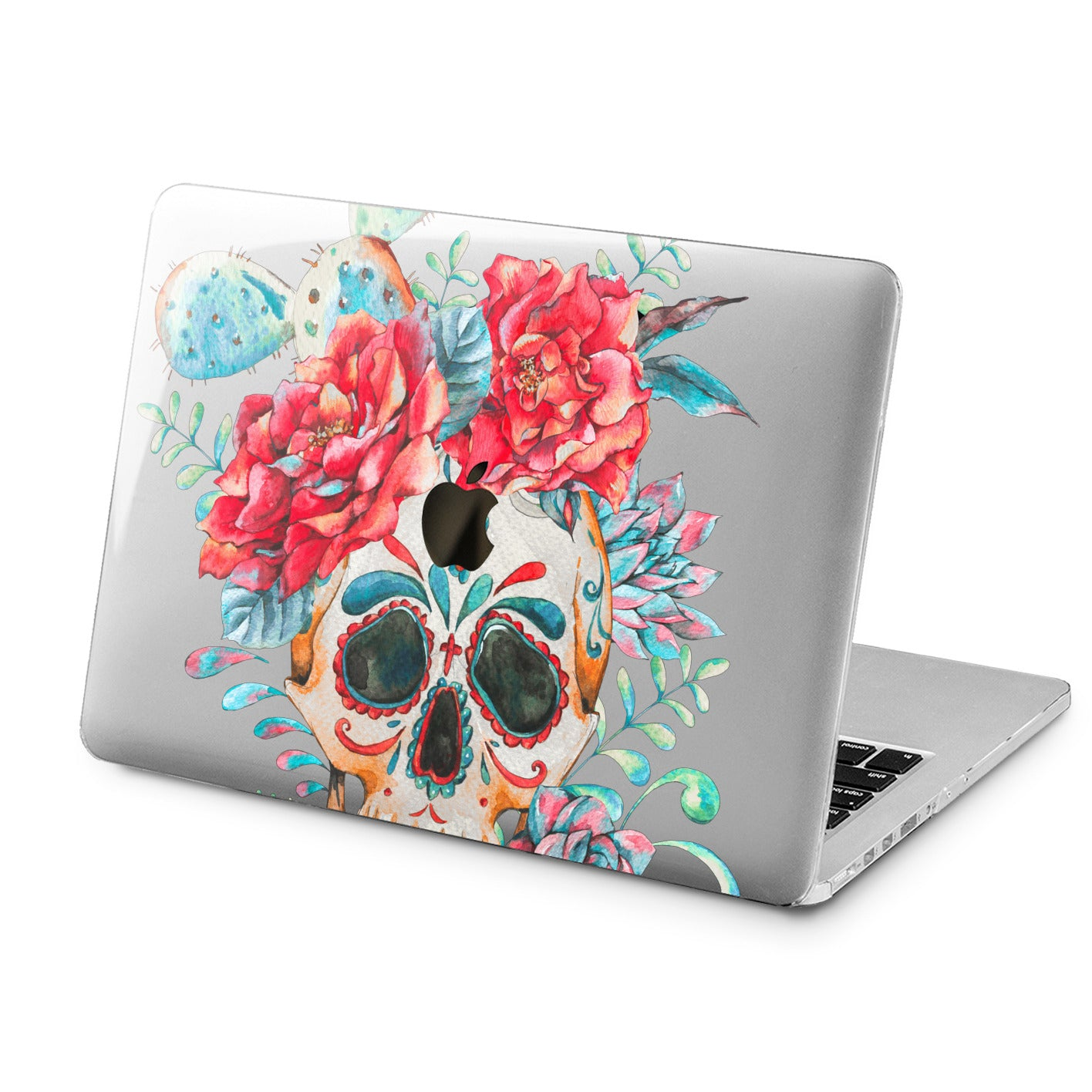 Lex Altern Lex Altern Colorful Floral Skull Case for your Laptop Apple Macbook.