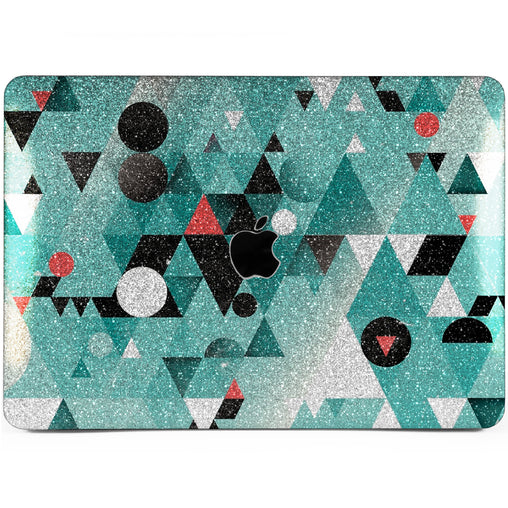 Lex Altern MacBook Glitter Case Green Triangles Abstract