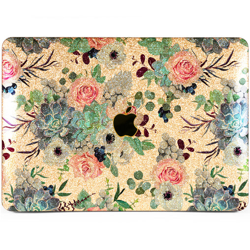 Lex Altern MacBook Glitter Case Succulent Blossom