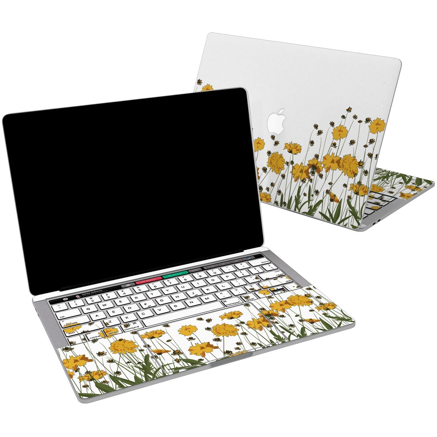 Lex Altern Vinyl MacBook Skin Yellow Flowers for your Laptop Apple Macbook.