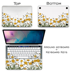 Lex Altern Vinyl MacBook Skin Yellow Flowers