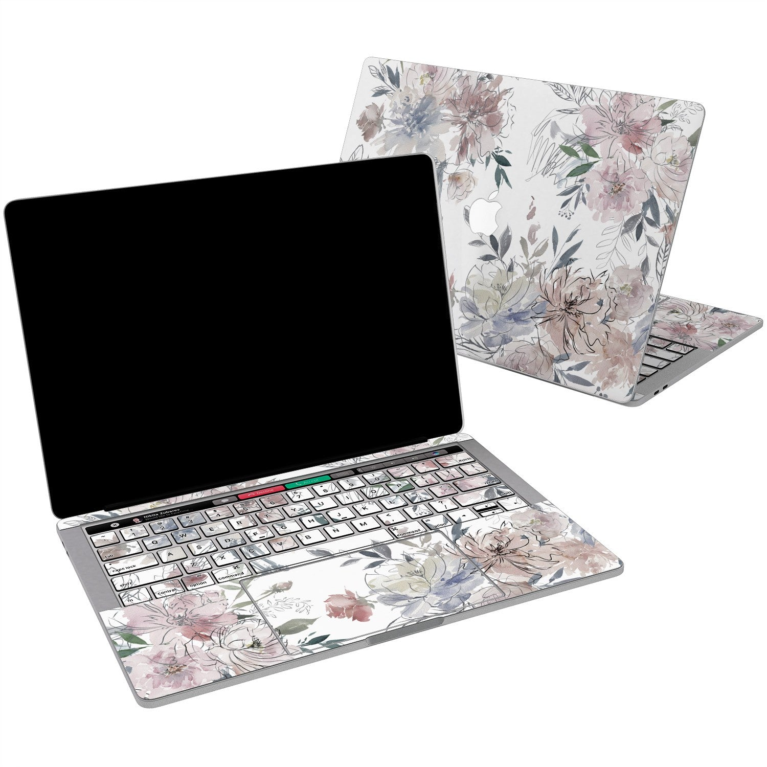 Lex Altern Vinyl MacBook Skin Painted Flowers for your Laptop Apple Macbook.