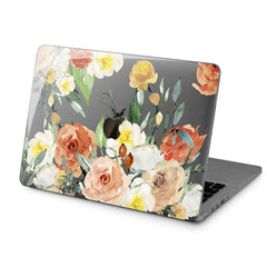 Lex Altern Hard Plastic MacBook Case Orange Roses Print