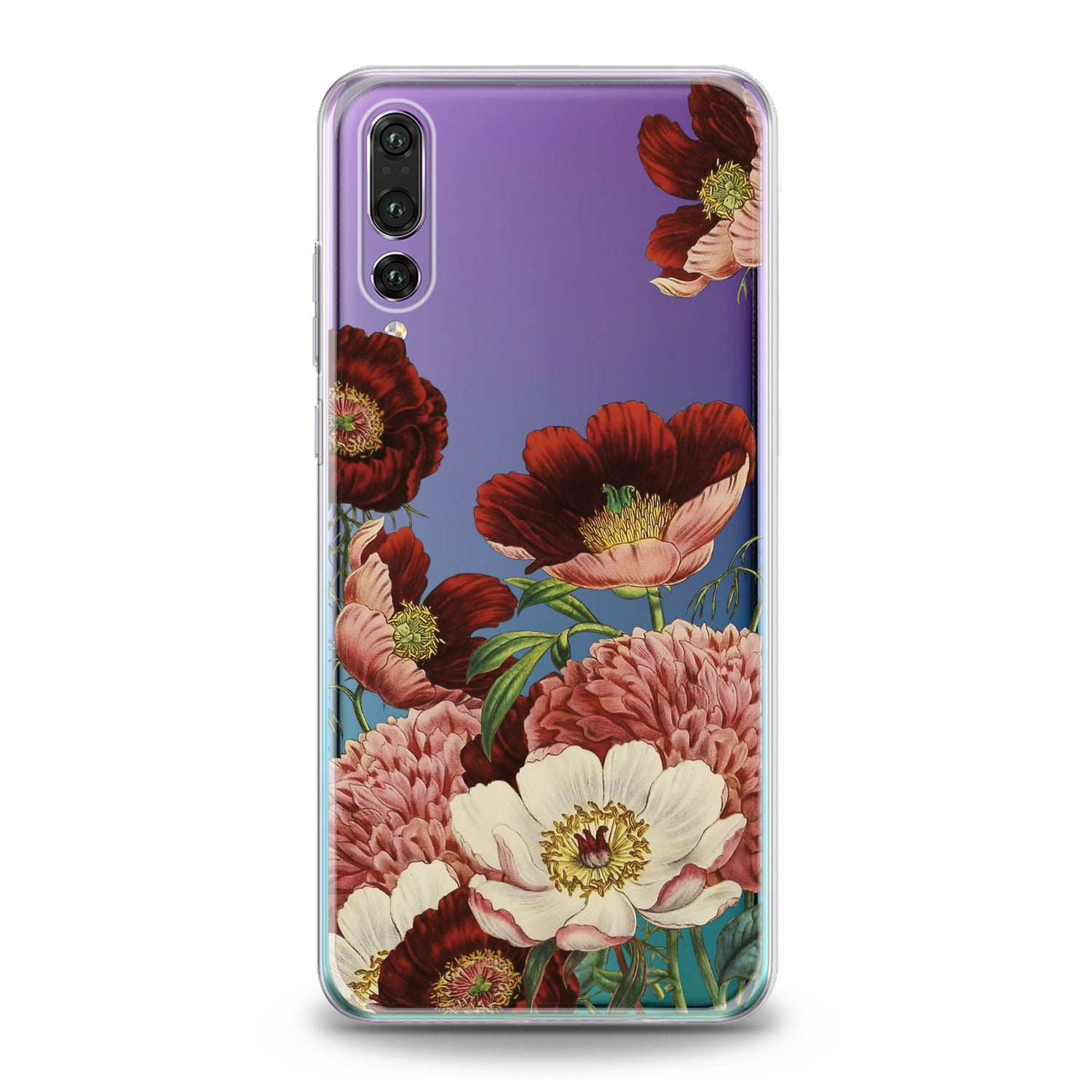 Lex Altern Red Flowers Print Huawei Honor Case