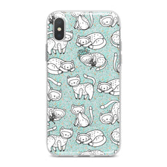 Lex Altern TPU Silicone Phone Case White Drawing Cats