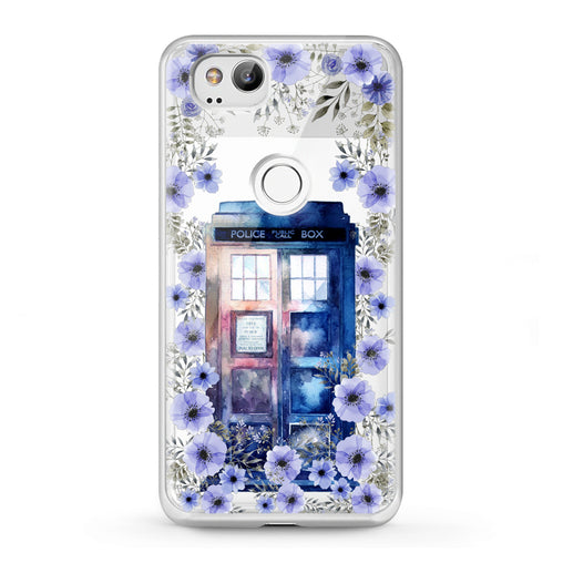 Lex Altern Google Pixel Case Floral Police Box