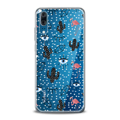 Lex Altern TPU Silicone Huawei Honor Case Black Cacti Stickers