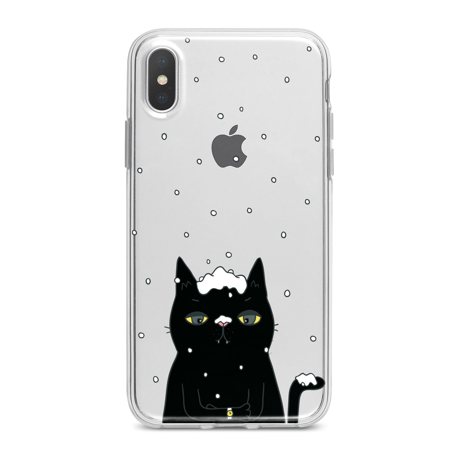 Lex Altern Black Snowy Cat Phone Case for your iPhone & Android phone.
