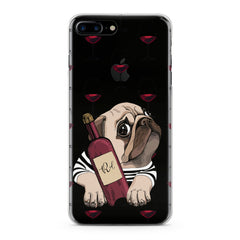 Lex Altern TPU Silicone Phone Case Wine Pug