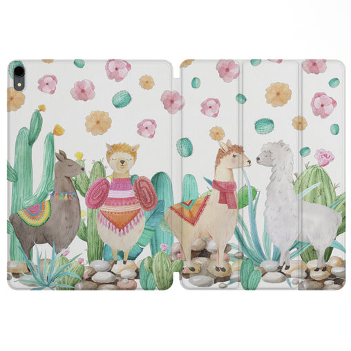 Lex Altern Magnetic iPad Case Cute Llamas for your Apple tablet.