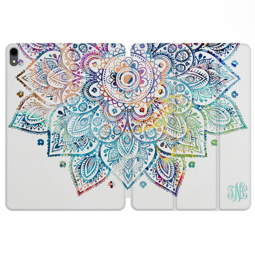Lex Altern Magnetic iPad Case Colorful Mandala for your Apple tablet.