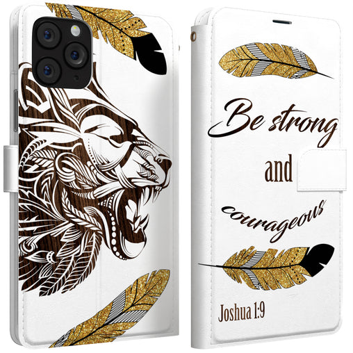 Lex Altern iPhone Wallet Case Be Strong and Courageous Wallet