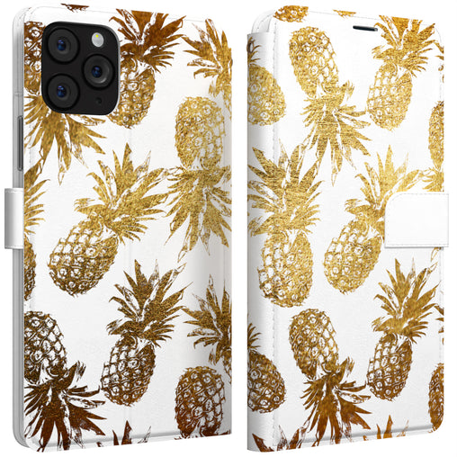 Lex Altern iPhone Wallet Case Gold Foil Pineapples Wallet