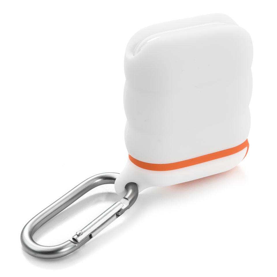Water-Resistant AirPod Case - White n' Orange