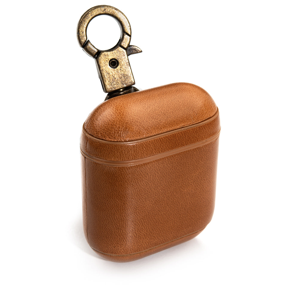 Genuine Leather AirPod Case w/ Clip - Caramel