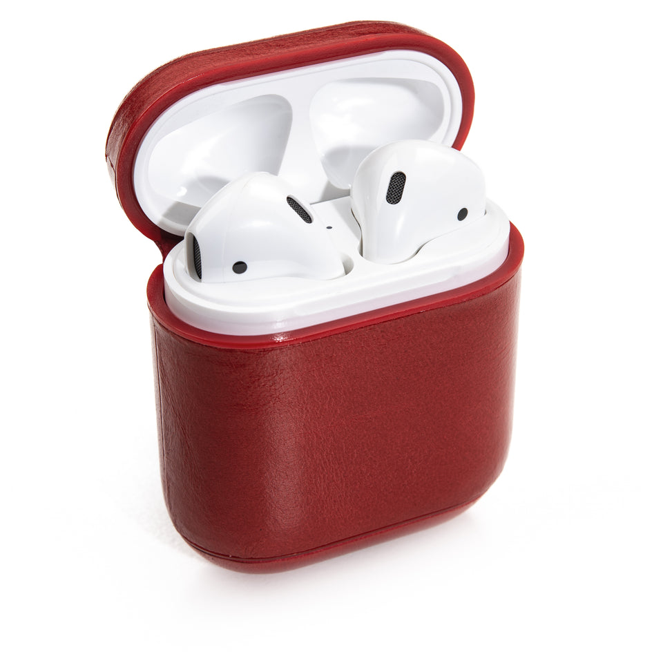 Genuine Leather AirPod Case w/ Clip - Scarlet