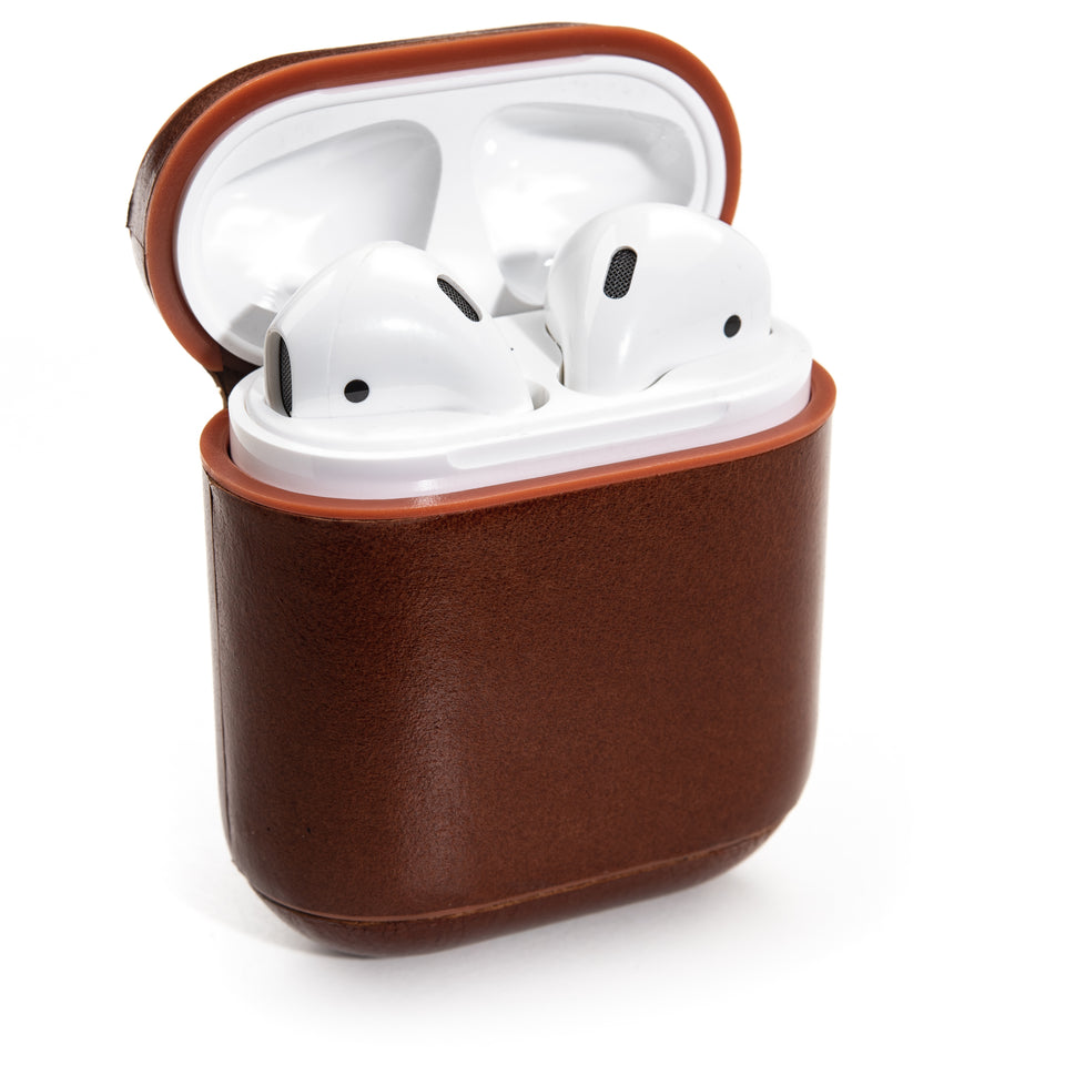 Genuine Leather AirPod Case w/ Clip - Cinnamon