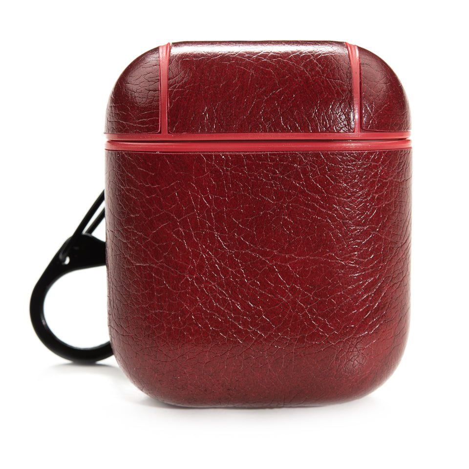 Split Leather AirPod Case - Maroon