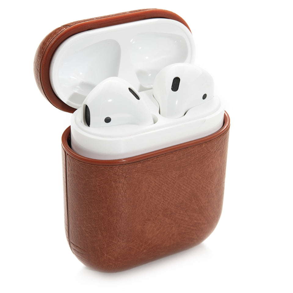 Split Leather AirPod Case - Cinnamon