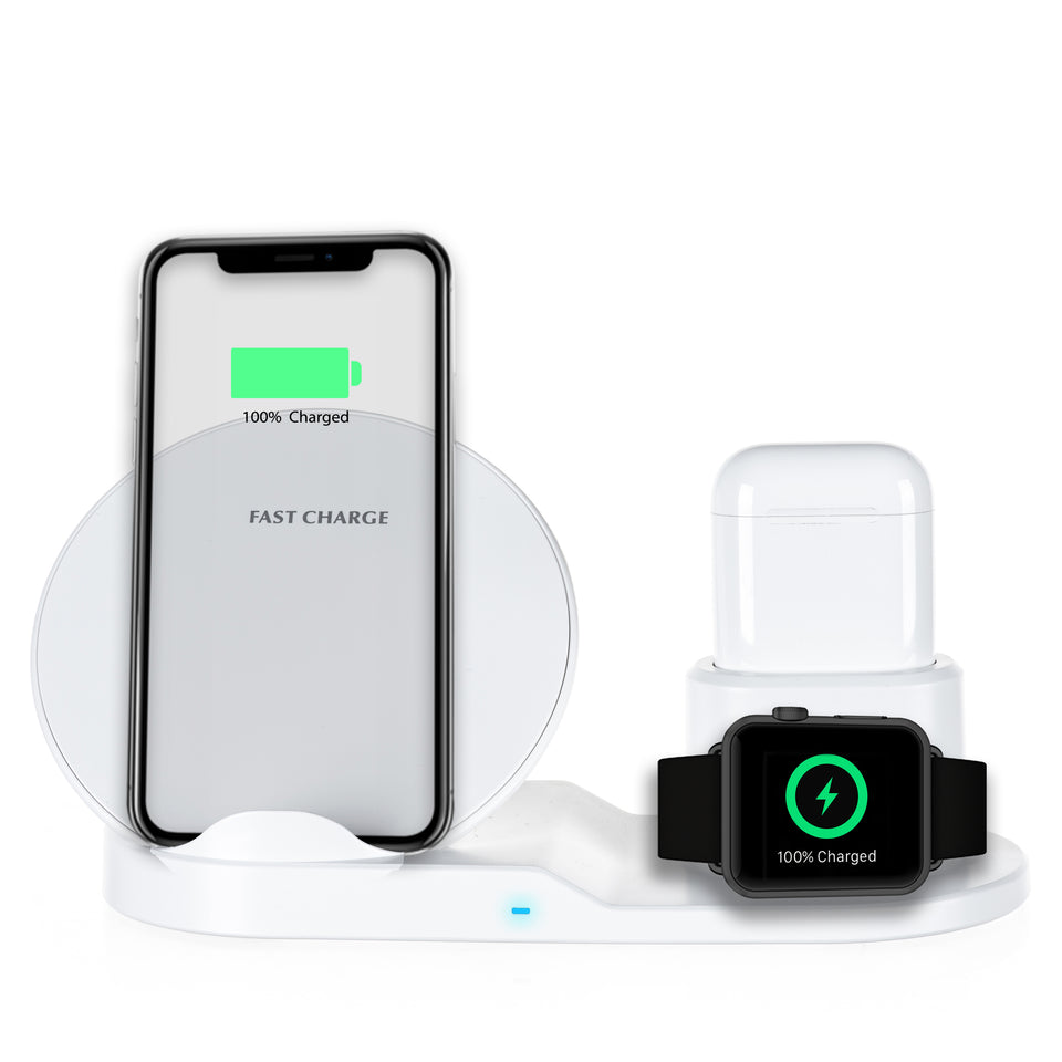 Qi Fast Wireless Charger for AirPods/Phone/Apple Watch - White