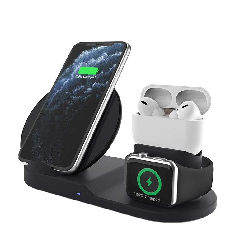 Qi Fast Wireless Charger for AirPods/Phone/Apple Watch - Black