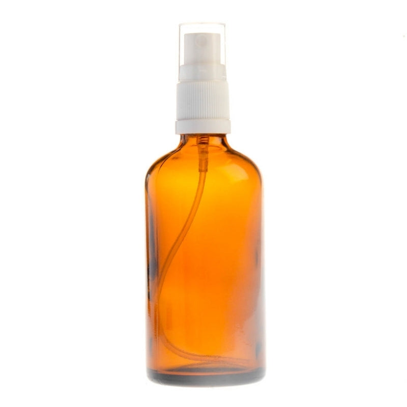 100ml Amber Glass Aromatherapy Bottle with Spritzer - White (18/410)