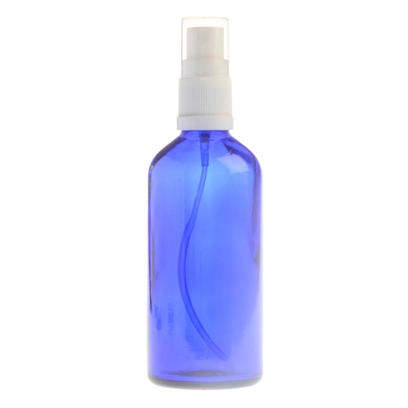 100ml Blue Glass Aromatherapy Bottle with Spritzer - White (18/410)