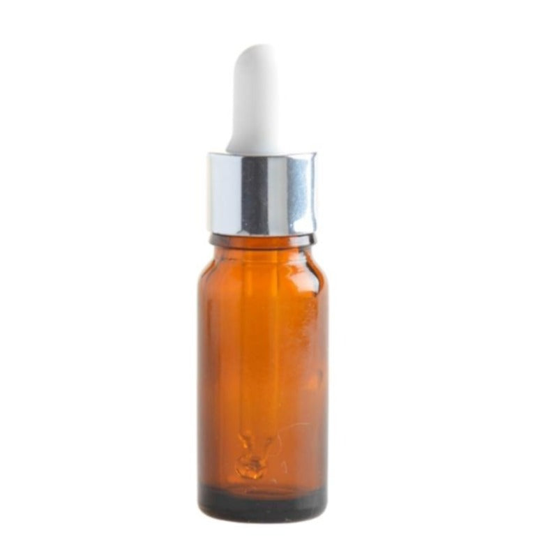 10ml Amber Glass Aromatherapy Bottle with White & Silver Collar Pipette (18/62) - Essentially Natural
