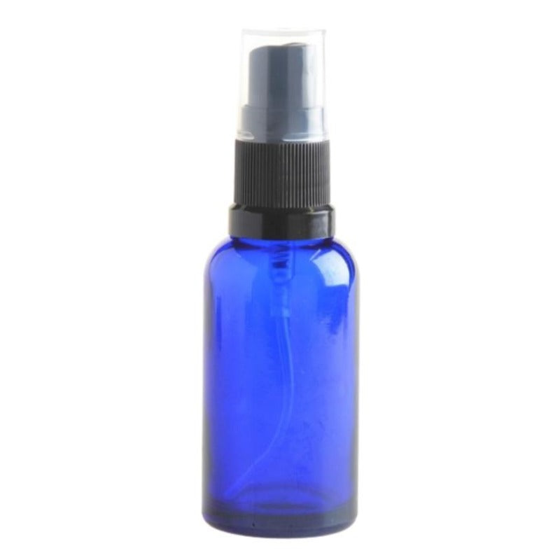 30ml Blue Glass Aromatherapy Bottle with Spritzer - Black (18/410) - Essentially Natural