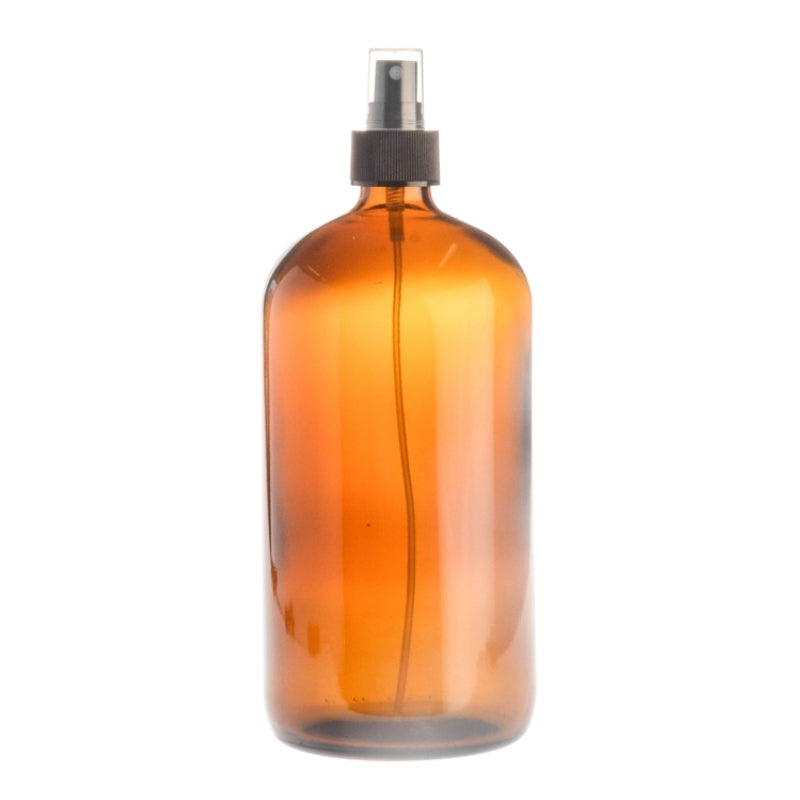 1 Litre Amber Glass Medical Round Bottle with Atomiser Spray - Black (28/410)