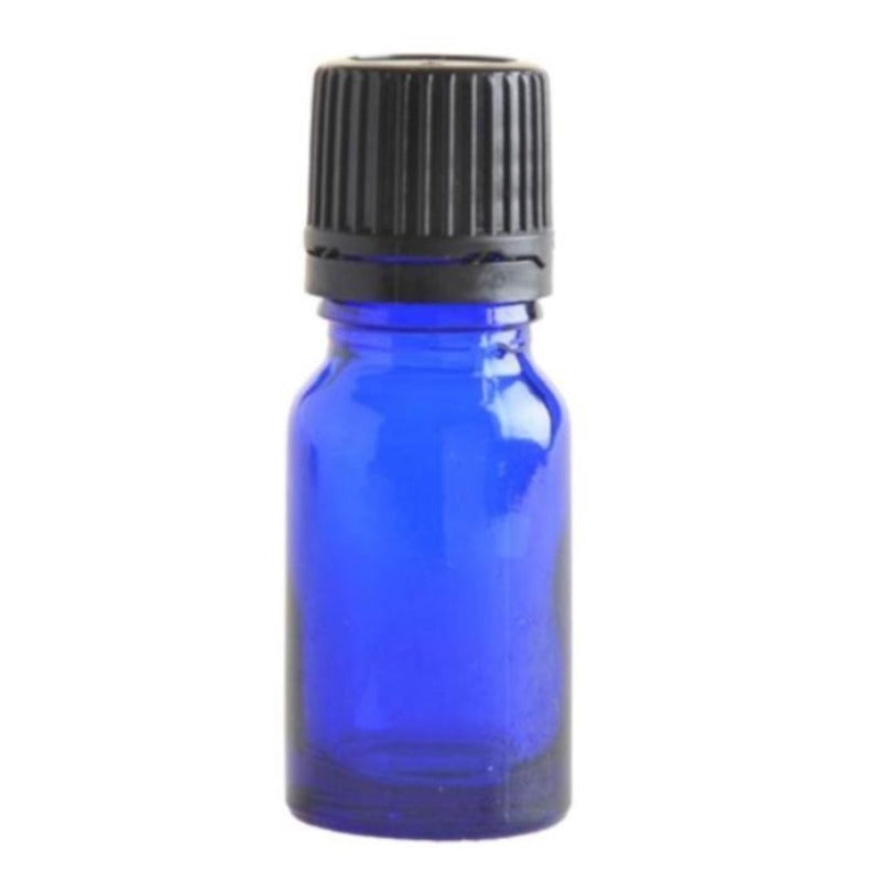 10ml Blue Glass Aromatherapy Bottle with Dropper Cap - Black - Essentially Natural