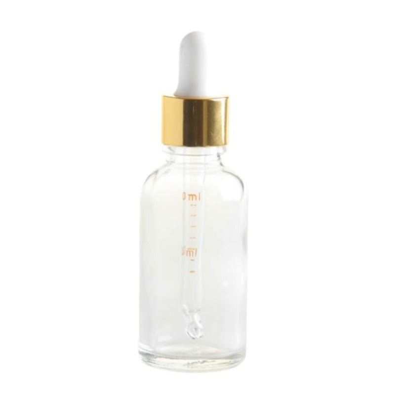 100ml Clear Glass Aromatherapy Bottle with Pipette - White & Gold Collar (18/110) - Essentially Natural
