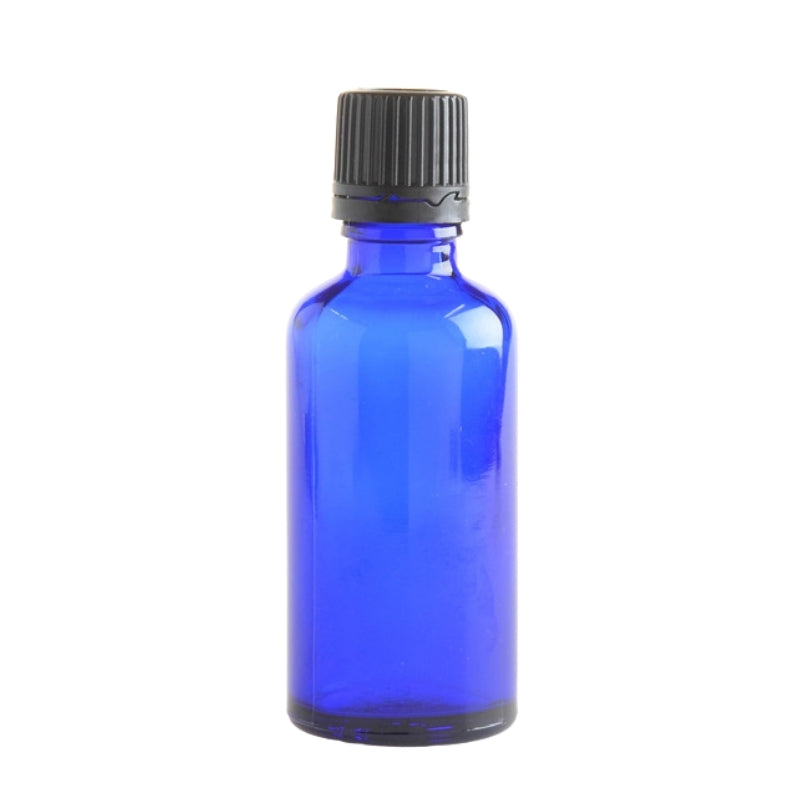 50ml Blue Glass Aromatherapy Bottle with Dropper Cap - Black - Essentially Natural