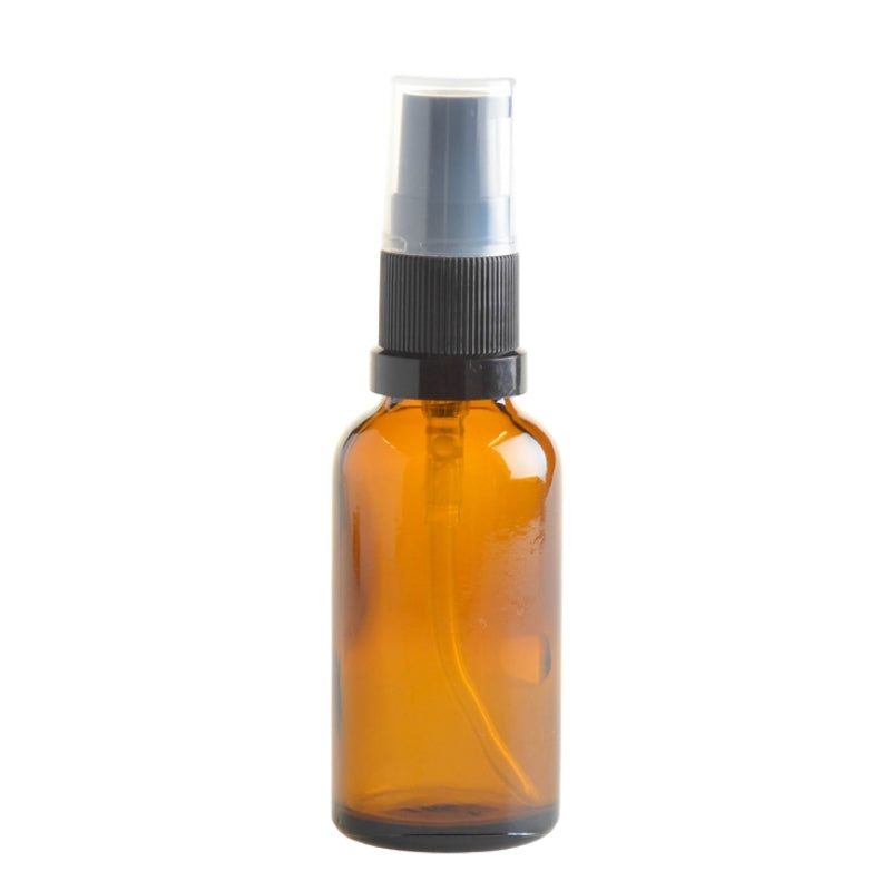 30ml Amber Glass Aromatherapy Bottle with Serum Pump - Black (18/410) - Essentially Natural